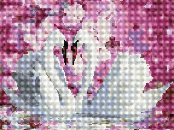 "Алмазная мозаика по номерам ""Белые лебеди"" Rainbow Art"