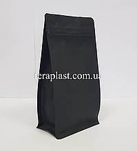 Пакет с плоским дном 250г черный 120х80х200 с боковой застежкой