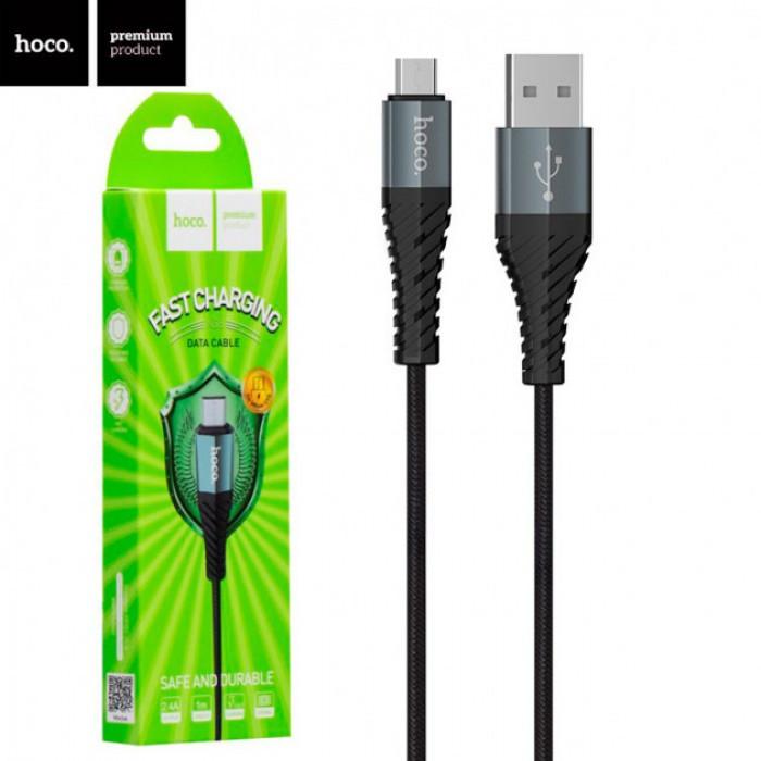Кабель Lightning HOCO X38 Micro USB 2,4A в тканевой оплётке, Чёрный