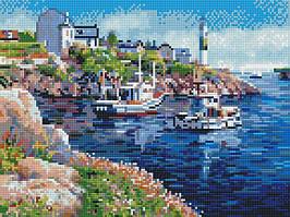 """Алмазная мозаика по номерам """"Городская гавань"""" Rainbow Art"""