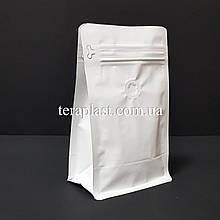 Пакет с плоским дном 250г белый 120х80х200 с боковой застежкой с клапаном для кофе