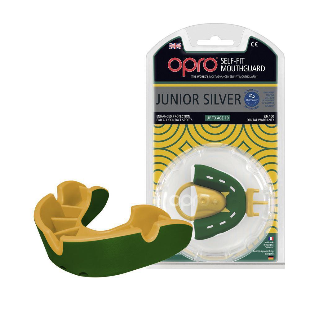 Капа OPRO Silver Junior, Green/Gold