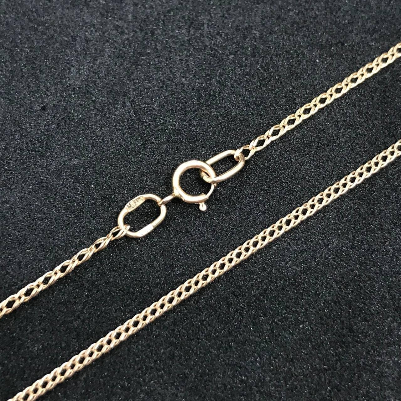 Золотая цепочка Б/У на шею 585 пробы, плетение Двойной ромб, вес 2.49 г