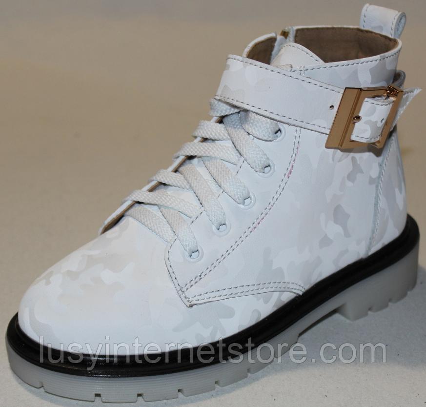 Ботинки белые кожаные для девочки на байке от производителя модель ДЖ6058-2Д