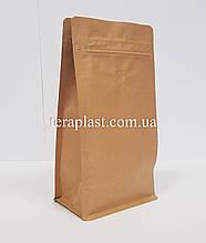 Пакет с плоским дном 250г крафт+металл 120х80х200 с боковой застежкой с клапаном для кофе