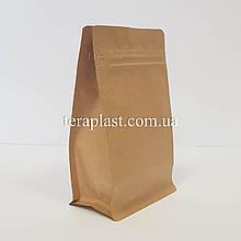 Пакет с плоским дном 250г крафт+металл 120х80х200 с боковой застежкой
