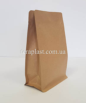 Пакет с плоским дном 250г крафт+металл 120х80х200 с боковой застежкой, фото 2