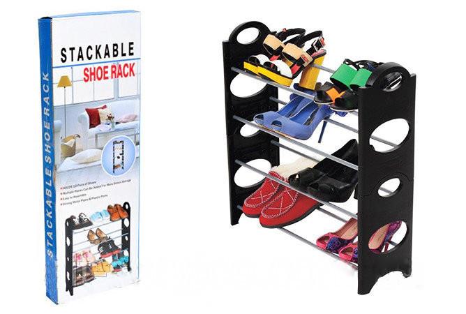 Підставка для взуття. Стійка підставка для взуття Stackable Shoe Rack, 4 полиці, 12 пар