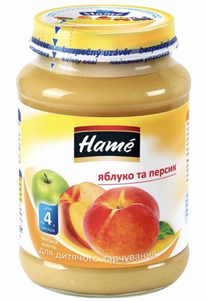 Пюре фруктовое яблоко-персик Hame, 190 г с 4 мес