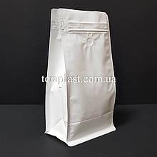 Пакет с плоским дном 500г белый 130х90х255 с боковой застежкой с клапаном для кофе