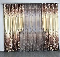 Набор шторы ширина 1,50м высота 2,70м тюль ширина 4м высота 2,70м | Набор шторы с тюлью цветы 1'265грн