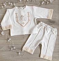 """Крестильный костюм для мальчика """"Маленький Янгол"""" белый, молочный - Размер 56,62,68,74,80"""