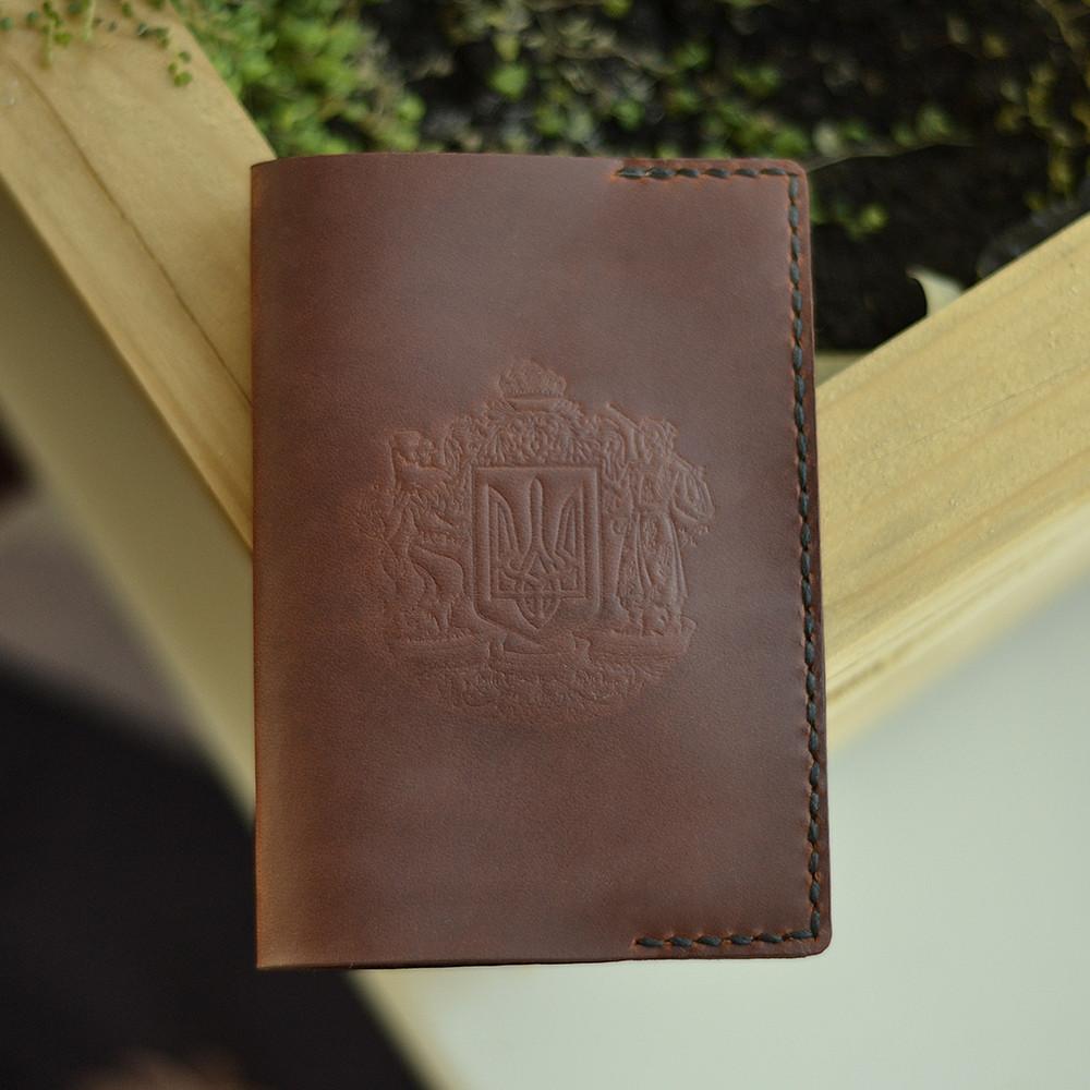 Шкіряна обкладинка Cebro на паспорт з гербом, Коричневий