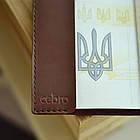 Шкіряна обкладинка Cebro на паспорт з гербом, Коричневий, фото 5