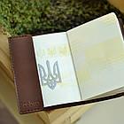 Шкіряна обкладинка Cebro на паспорт з гербом, Коричневий, фото 6