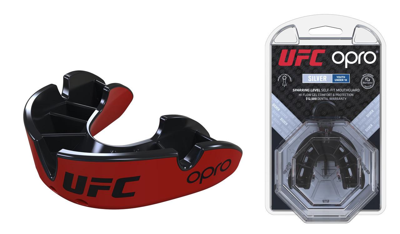 Капа OPRO Silver Junior (UFC Hologram), Red/Black