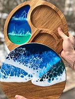 Подарочный набор ручной работы из дерева: дощечка сервировочная менажница с эпоксидной смолой 30см,сервировка