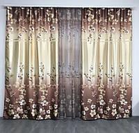 Шторы с тюлью цветочный принт | шторы с тюлью атласные | набор шторы с тюлью 1 265грн