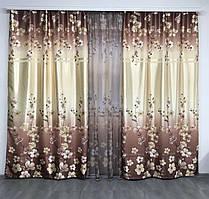 Шторы с тюлью цветочный принт | шторы с тюлью атласные | набор шторы с тюлью 1'265грн
