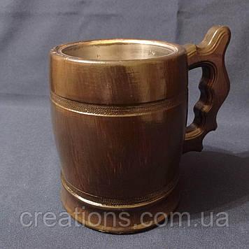 Пивний бокал з натурального дерева 500 мл. з дуба металеві з вставкою