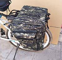 Камуфляжная/черная вело сумка баул на багажник с боками велобаул
