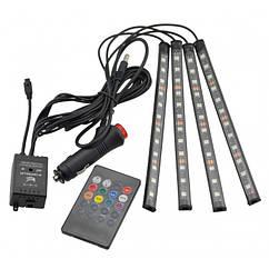 Цветная подсветка для авто водонепроницаемая RGB led HR-01678 7 цветов, Черный