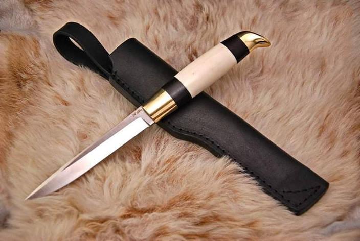 Финский нож ручной работы с рогом лося, N690, фото 2
