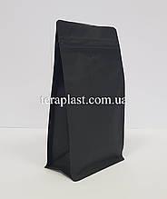 Пакет с плоским дном 500г черный 130х90х255 с боковой застежкой с клапаном для кофе