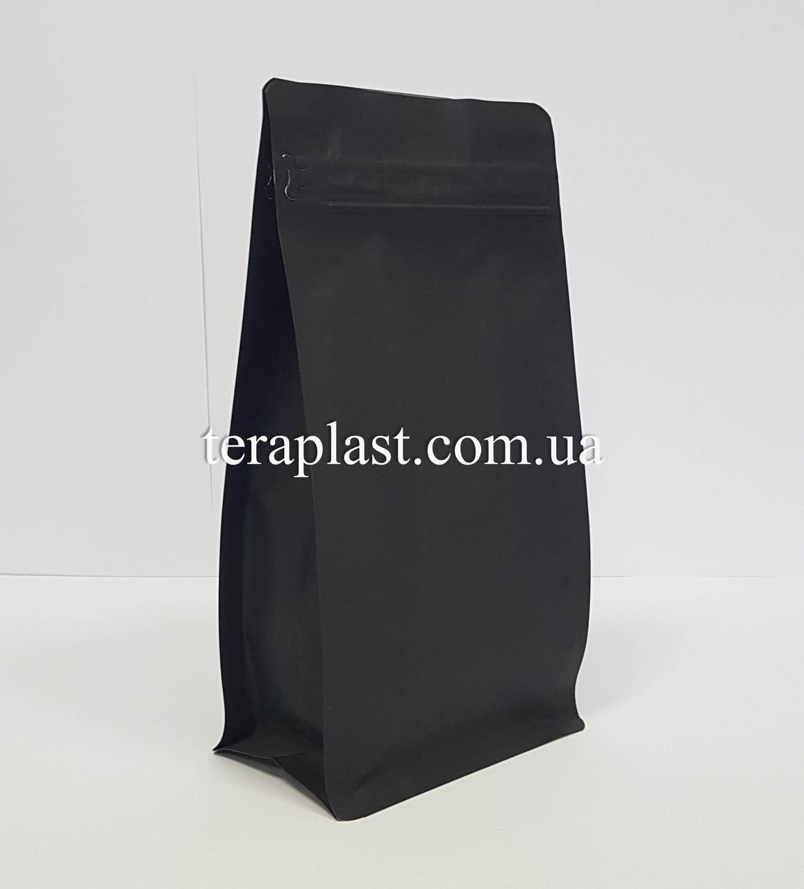 Пакет с плоским дном 500г черный 130х90х255 с боковой застежкой