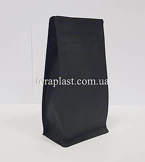 Пакет с плоским дном 500г черный 130х90х255 с боковой застежкой, фото 2