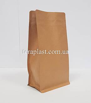 Пакет с плоским дном 500г крафт+металл 130х90х255 с боковой застежкой, фото 2