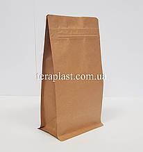 Пакет с плоским дном 500г крафт+металл 130х90х255 с застежкой