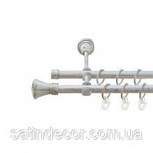 Карниз для штор металевий ЛЮКСОР подвійний 16+16 мм 1.6 м Біле золото
