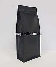 Пакет с плоским дном 1кг черный 145х90х340 с боковой застежкой