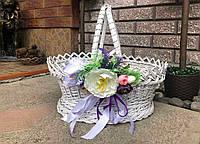 Великодній кошик біла з квіткою, фото 1