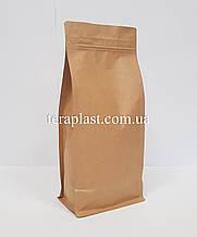 Пакет с плоским дном 1кг крафт+металл 145х90х340 с боковой застежкой