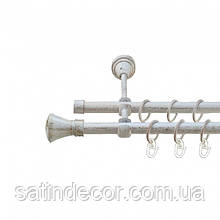 Карниз для штор металевий ЛЮКСОР подвійний 16+16 мм 3.0 м Біле золото