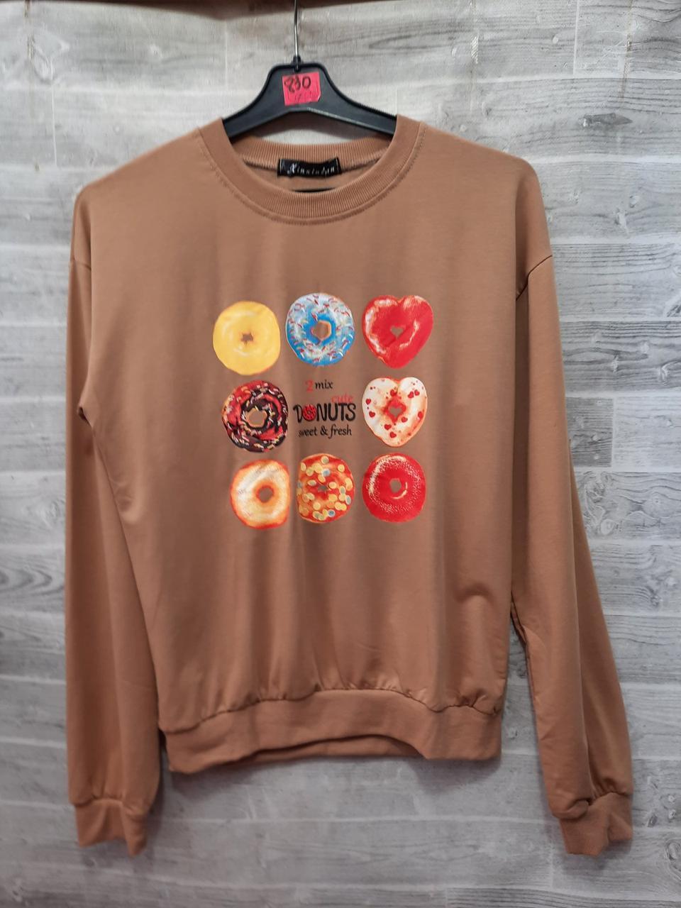 Трикотажний стильний пуловер з пончиками 44-46 (в кольорах)