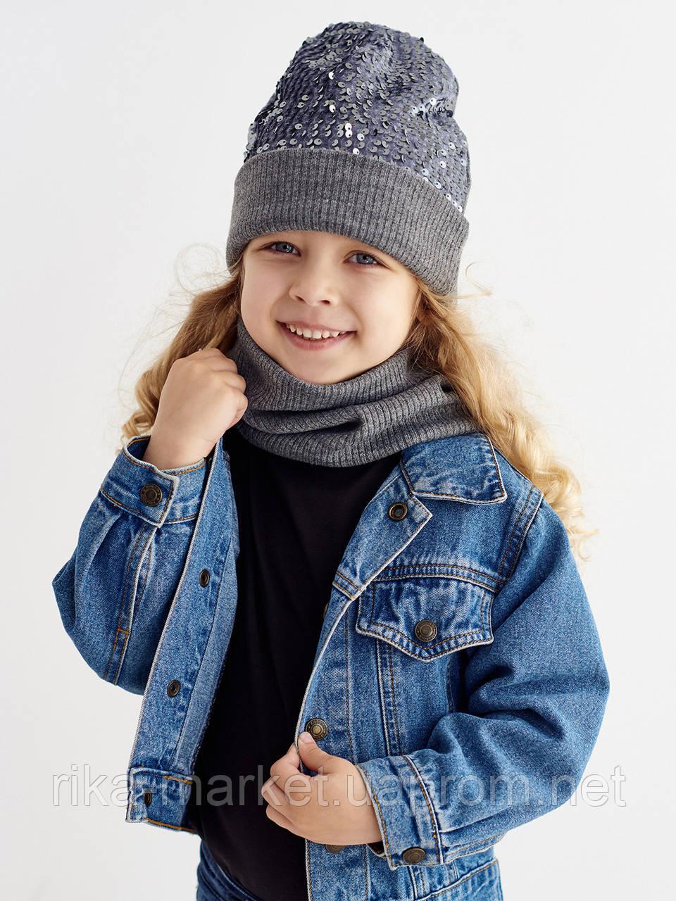 Набор для девочки (шапка и снуд)ТМ Дембохаус, арт. Амелия, возраст от 1,5 до 6 лет