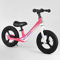 """Велобег розовый Corso 27667 колесо 12"""" надувные, магниевая рама, магниевые диски, подножка"""