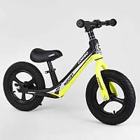 """Велобег желтый Corso 63181 колесо 12"""" надувные, магниевая рама, магниевые диски, подножка"""