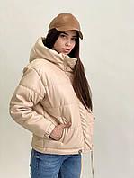 Жіноча куртка з еко-шкіри з капюшоном (чорний, беж, мокко), фото 1