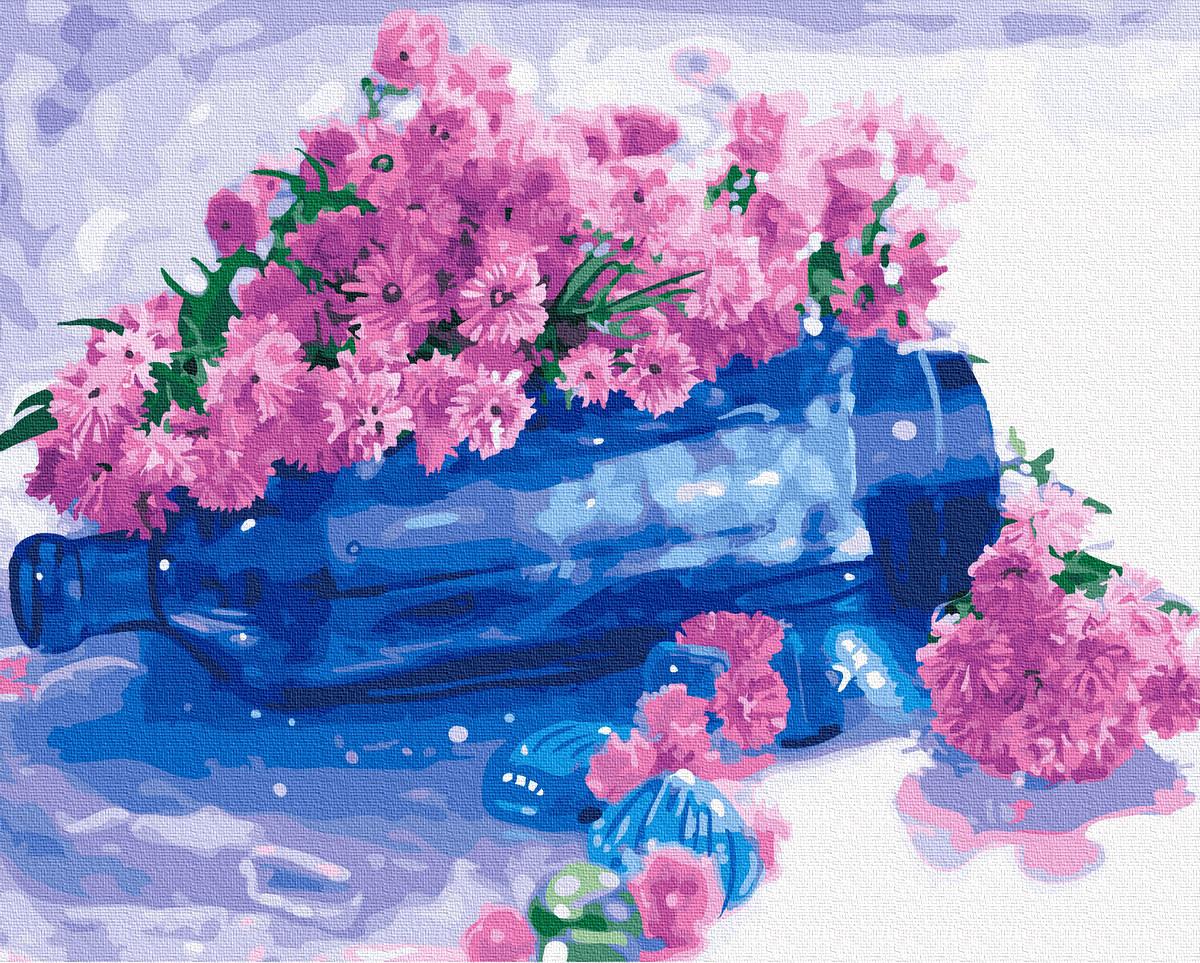 Картина по Номерам Цветы на бутылке 40х50см RainbowArt