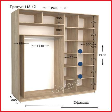 Шкафы купе ПРАКТИК 118-2 / ширина-2400/ глубина-450/600/ высота-2200/2400 (Гарант), фото 2