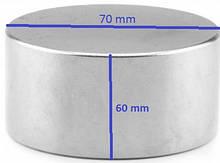 Постоянный мощный неодимовый магнит 70х60 ( 70 на 60). Польша. Сила 300 кг