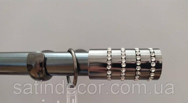 Карниз для штор металевий БАРАМЕЛЛА однорядний 19 мм 2.0 м Онікс (чорний блискучий)