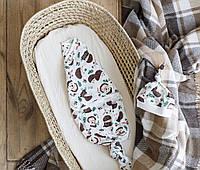 Безразмерная пеленка кокон на липучках Каспер, Ёжики