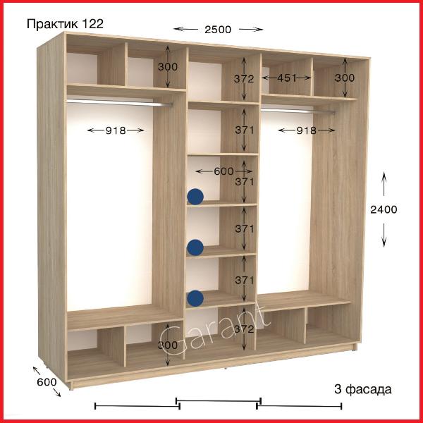 Шкафы купе ПРАКТИК 122 / ширина-2500/ глубина-450/600/ высота-2200/2400 (Гарант)