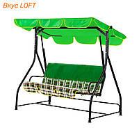 Дачные качели Вероника Шотландка зеленая Витан 171х191х116 см, нагрузка 220 кг. Качели с тентом для дачи, сада
