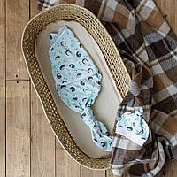 Безразмерная пеленка кокон на липучках Каспер, Ёжики на мяте, фото 1